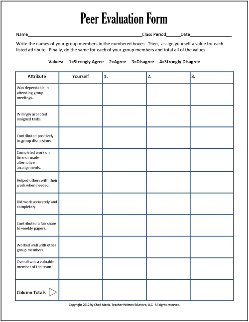 Cooperative Learning 7 Free PDF Assessment Instruments – Peer Evaluation Form