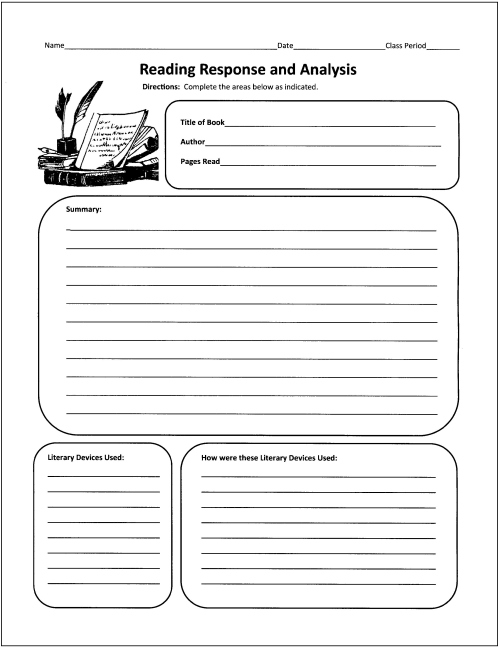 Free Graphic Organizers for Teaching Literature and Reading – Reading Summary Worksheet