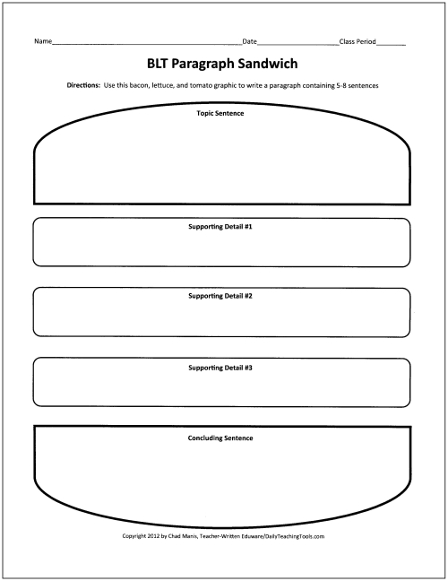 sandwich template for writing - pace multi level english