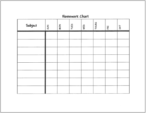 image relating to Printable Homework Chart identify Research Ideas that Very Energy for Lecturers, Mother and father, and