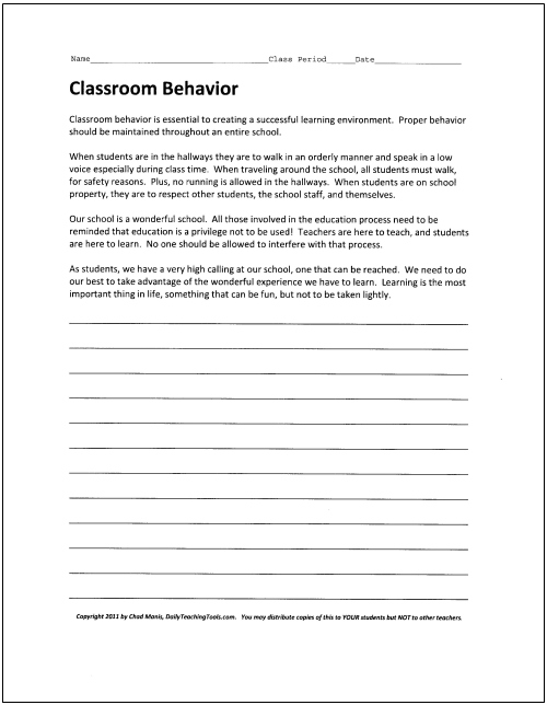 essay classroom behavior Classroom behavior management plan introduction part of the daily work of a teacher is to ensure that classroom control is maintained at all times.