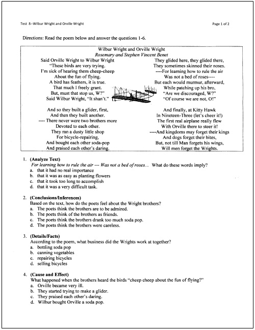 10 Free Reading Tests for Students in Grades 5 Through 9 – Elements of Fiction Worksheet