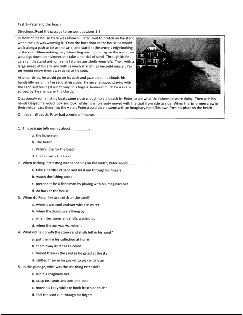 Sample Reading Comprehension Test For Grade 2 - Scalien