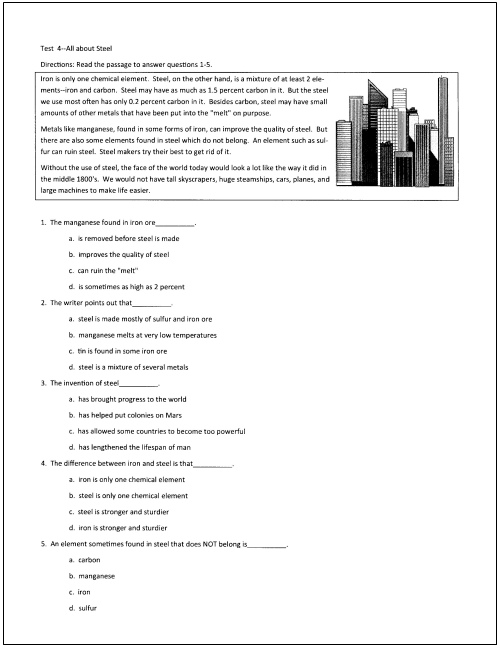 Worksheets Grade 4 Reading Selection 10 free reading tests for students in grades 5 through 9