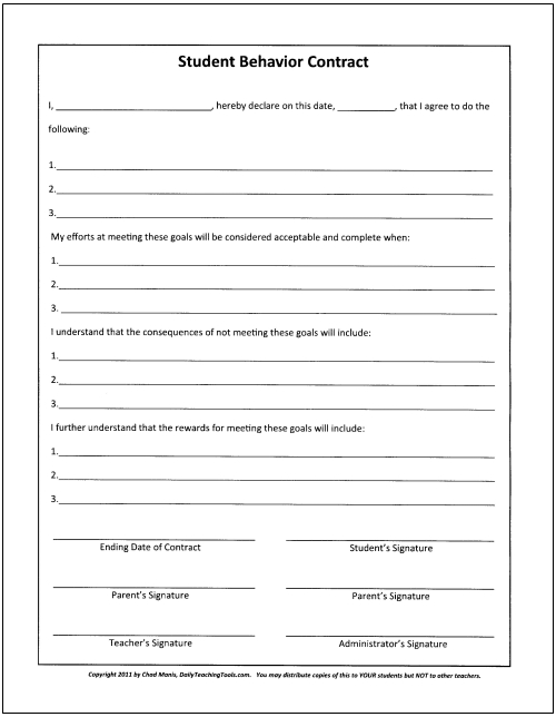 Le behavior contract template furthermore teacher student for Student contracts templates