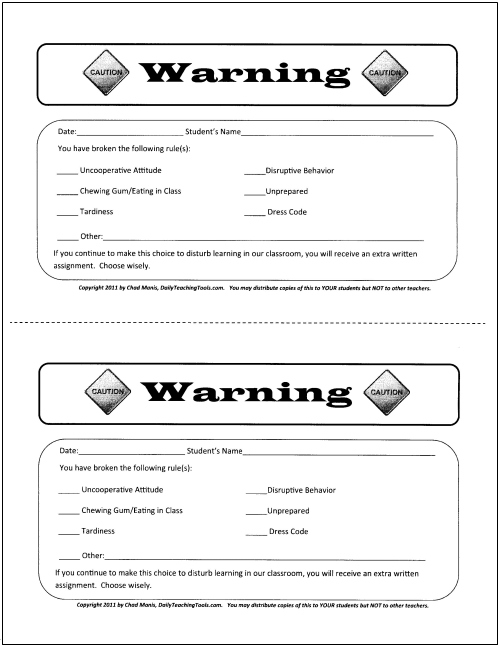 Classroom behavior management a comprehensive set of for Detention notice template