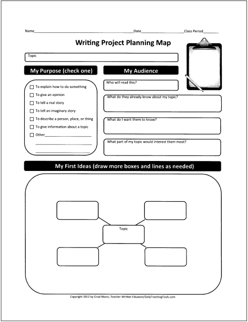 Free graphic organizers for teaching writing for How to write a project plan template