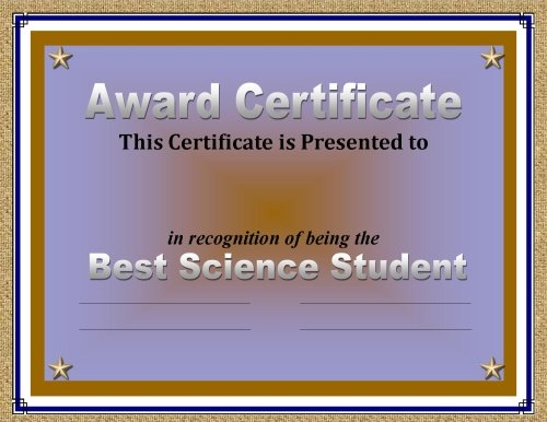 Certificate Of Achievement  Awards Recognizing Student Excellence