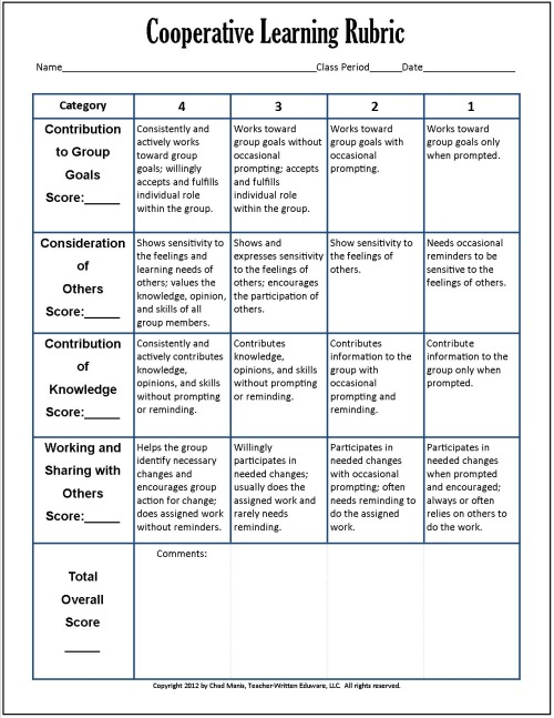 Cooperative learning 7 free pdf assessment instruments for Cooperative learning lesson plan template