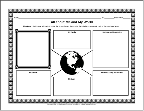 Free Graphic Organizers for Studying and Analyzing – All About Me Worksheet Middle School