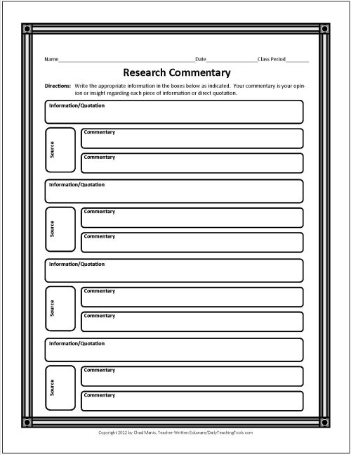 Research Paper Outline Middle School Template
