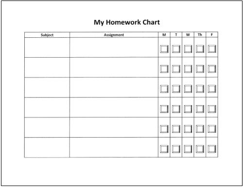 homework log template for students