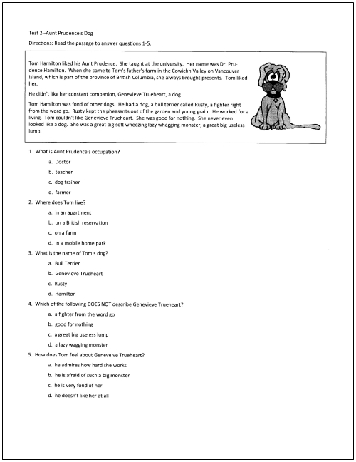 10 Free Reading Tests for Students in Grades 5 Through 9 – Reading Comprehension Worksheets for Middle School